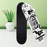 Aceshion - Tabla de skate para adultos y adolescentes, 80 x 20 cm, doble patada, madera de arce, profesional, para hacer trucos - Monopatín para chicos y chicas, ideal para principiantes, blanco