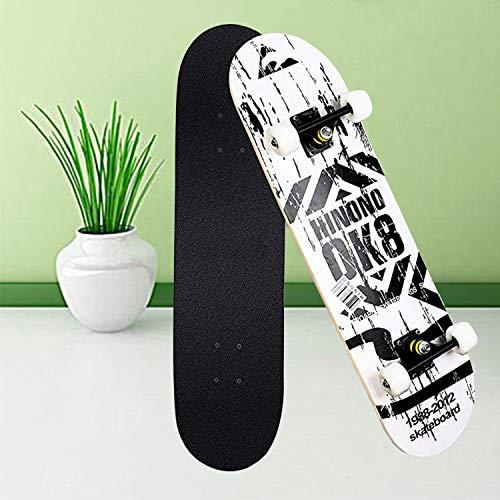 Aceshion Skateboard für Erwachsene 80,6 x 20 cm, Ahornholz, für Jugendliche, Doppeltricks, Profi-Ausführung, komplettes Skateboard für Anfänger, Mädchen und Jungen, weiß