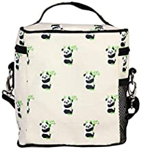"""EcoRight Lunch Bag Reusable Cotton Canvas EcoFriendly Insulated Cooler Washable Zipper for Men, Women, Adults Printed """"Pandas"""" (Natural) - (0801S01)"""