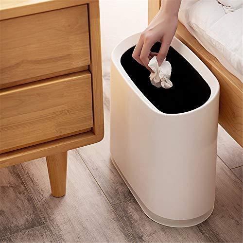 Lwieui Cubos de Basura para baño Estilo japonés de Basura de plástico Puede 10L de Gran Capacidad de Doble Capa de Hogares Descubierta Contenedores de baño (Color : Black, Size : 10L)