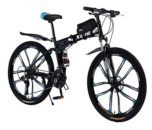 Bicicletta da mountain bike pieghevole da 26 pollici, per adulti, con freno a disco a 27 marce, sospensione completa, antiscivolo, telaio leggero con borsa per bicicletta, adatta per uomo e donna