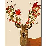 TTZJY Pintura por Números para Adultos y Niños DIY Pintura al óleo Kit ,con 3 Pinceles y Pinturas Acrilicas Decoraciones para el Hogar 16x20 Pulgadas/40x50cm (Sin Marco) Ciervo y pájaro Sika