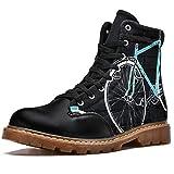 TIZORAX Fahrrad Wandgemälde Drucke High Top Lace Up Klassische Leinwand Winterstiefel Schule Schuhe für Männer Teen Jungen, Mehrfarbig - mehrfarbig - Größe: 44 EU