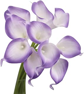 Angel Isabella 10pc Set Real Touch Calla Lily-Feels just Like Real (Cream with Lavender Trim)
