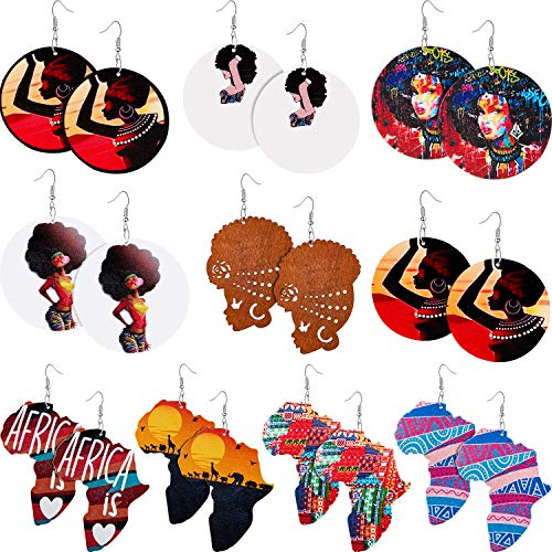 10 Pairs African Round Wooden Earrings Ethnic Style African Map Earrings Multicolor Earrings for Women