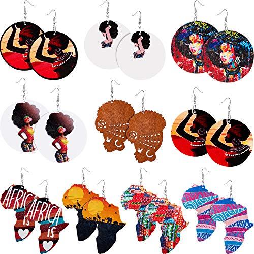 10 Paar Afrikanische Runde Holz Ohrringe Ethnischer Stil Afrikanische Kartenohrringe Mehrfarbige Ohrringe für Frauen