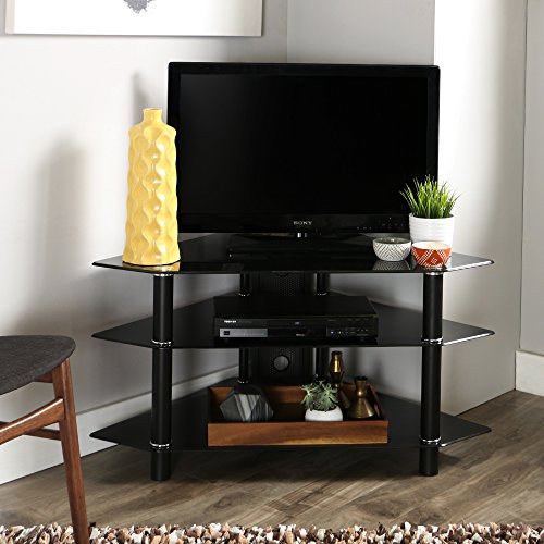 Walker Edison 44' Glass Corner TV Stand, Silver