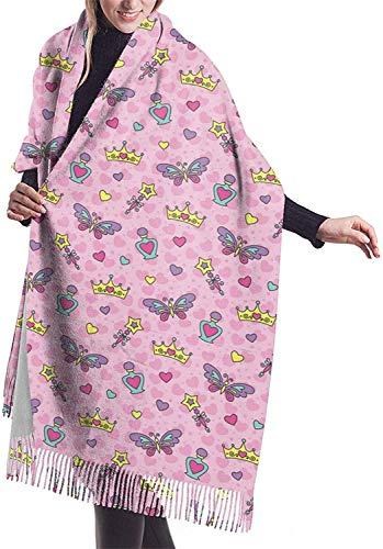 Bufanda de cachemira para mujer, diseño de mariposa y corona, bufanda de invierno clásica con borla, manta grande