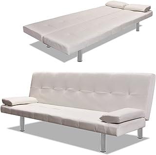 comprar comparacion Vislone Ajustable Sofá Cama con 2 Almohadas y 3 Posiciones Ajustables Cuero Artificial 168x77x(61,5/64/66) cm Blanco Crema