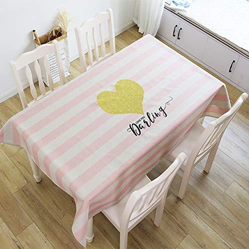 Rechteck Staubdichte Tischdecke Schwere Tischdecke aus Baumwolle und Leinen Girly Cute Style Bedrucken und Färben Stoffbezug Handtuch