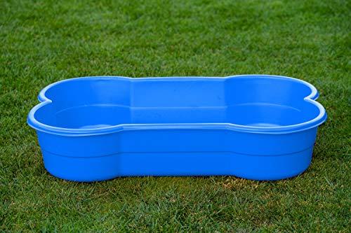 DogsLand Hundepool in Knochenform - 120 cm, blau, für große und kleine Hunde, biss- und krallenfest, UV-beständig, 100% Made in Germany