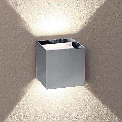 s.LUCE Ixa LED Wandleuchte mit zwei verstellbaren Winkel Aussen-Wandlampe Chrom, Fassadenleuchte...