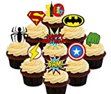 10. Geburtstag Superheld Essbare Cupcake Topper – Stand-Up Wafer Kuchen Dekorationen, Pack of 36