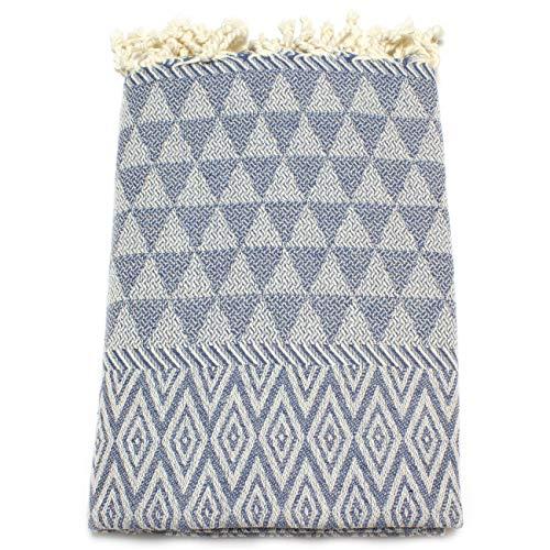 Anna Aniq Fouta - Toalla de playa (100 x 200 cm, 100% algodón, toalla de baño, manta de picnic, yoga, pestemal, toalla de playa (vaqueros)