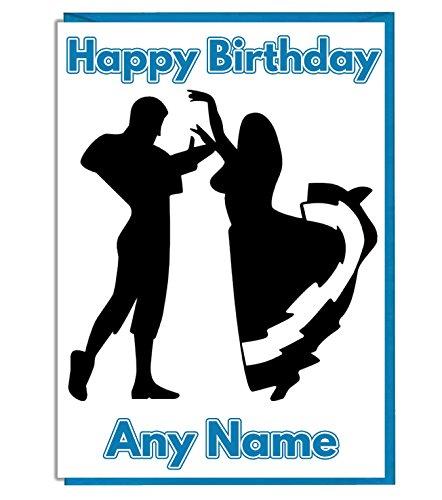 AK Giftshop Latijns-Spaans Dans Thema Gepersonaliseerde Verjaardagskaart - ADD A NAME AND AGE
