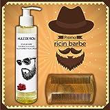 Aceite de ricino para barba + peine para barba de sándalo a