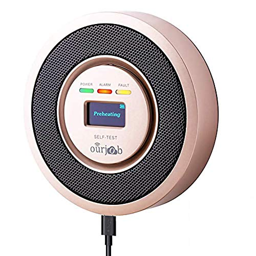 Natural Gas Detector-Ourjob Household LPG/Coal Gas Combustible Gas Leak Detector, Propane Butane Methane Gas Detectors Alarm, USB Powered, Digital Display, Sound Light Warning (Champagne)