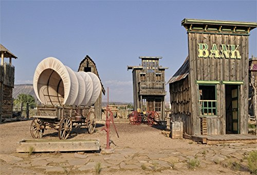 LFEEY 10x8ft Far Wild West Theme Backdrop Western Cowboy Country Settlers Town Scene Wooden Bank Building Covered Wagon on Yard of Fort Travel Photography Background Photo Studio Props