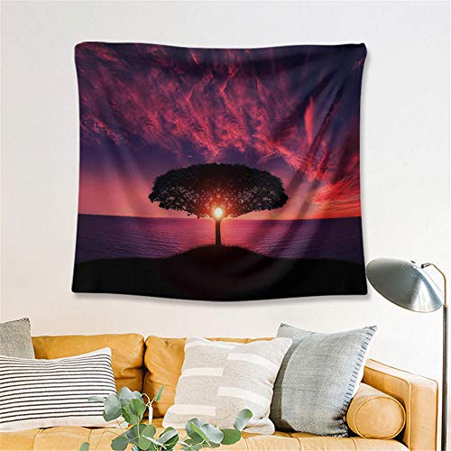 Sunset Tapestry Purple Landscape Wall Hanging Wall Decoration Home Decoration Yoga Blanket Beach Towel Background Cloth,L/150x200cm(59'x79'),Ssfj05