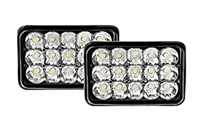 """Benson USA Rectangular LED Headlight Bulb Sealed Beam Replace HID Xenon H4651 H4652 H4656 H4666 H6545 Projector Lens Fit for Peterbilt Kenworth Freightliner 4"""" H x 6"""" W Black 2 Piece"""
