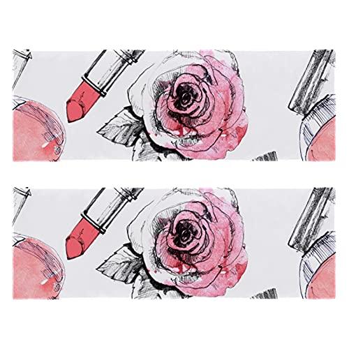 Toallas de gimnasio de fitness Barras de labios Perfume y cepillo de impresión de secado rápido Toalla de microfibra deportiva de entrenamiento para hombres y mujeres, paquete de 2