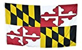 Shop72 US Maryland State Flags - Maryland Flag - 3x5  Flag from Sturdy 100D Polyester - Canvas Header Brass Grommets Double Stitched from Wind Side