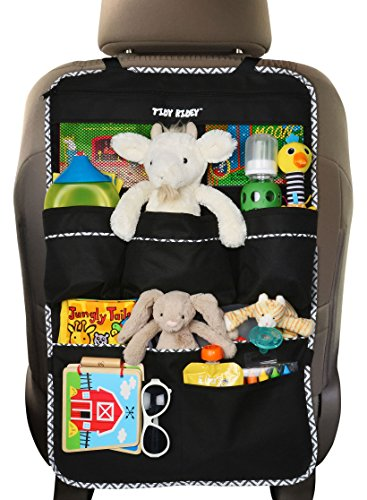 Backseat Organizer, Extra Large Size, Car Organizer for Kids- #1 Kids Toy Storage- Travel Accessories, Car Seat Protector-Kick Mat, Durable Material (Large)
