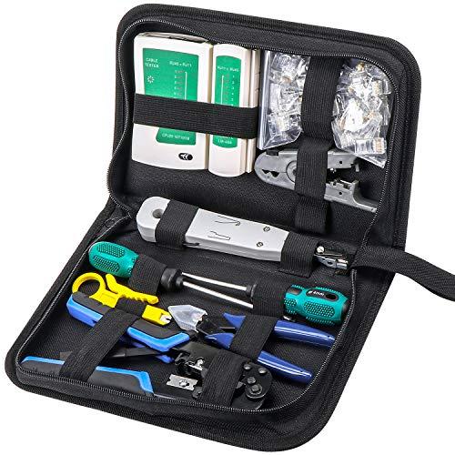WiMas Kit de herramientas de mantenimiento de computadora de red, juego de probador de cables, kit de herramientas de red portátil, juego de herramientas de crimpado con 50 conectores RJ45 CAT5e