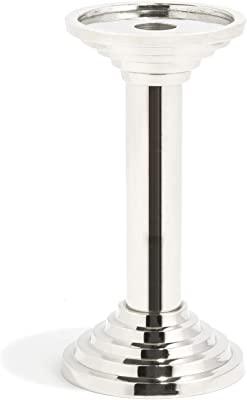 """LampLust Silver Pillar Candle Holder - 8"""" Tall Decorative Candlestick for Wedding Centerpiece, Dining Room Table or Living Room Decor - Fits Up to 3 Inch Diameter Candles"""