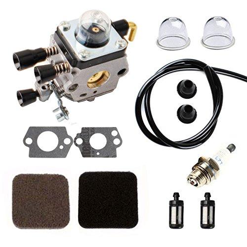 Podoy FS85 Carburetor for Compatible with STIHL C1Q-S97 Gasket Kit with Air Fuel Filer Spark Plug Fuel Line &Grommet FS80 FS80R FS85R FS85T FS85RX String Trimmer