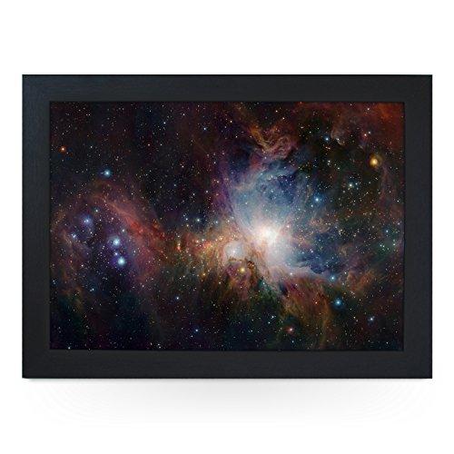 Portable Lap Desk Tray (Orion Nebula) Handmade Wooden Frame, Beanbag Cushioned Bottom | Computers, Laptops, Meals, Food | L0130 Black