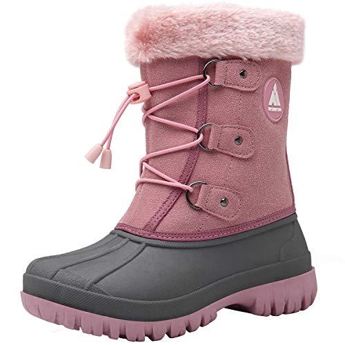 Mishansha Cálidas Niña Zapatos de Nieve Cremallera Impermeable Botas de Invierno Cómodas Antideslizante Winter Boots Forrado de Piel Sintética Resistente al Desgaste Bota, Rosa 36