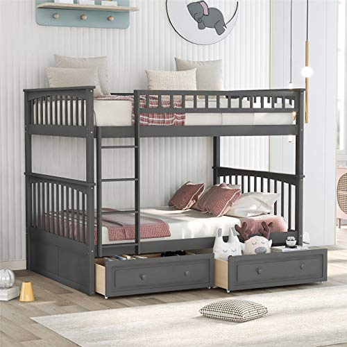 Bunk Beds Full Over Full with Drawers, Solid Wood Full Bunk Beds with Ladder for Boys Girls Teens Adults, Gray