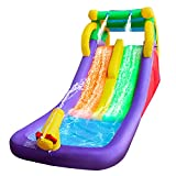 RETRO JUMP Inflatable Water Slide, Double Slide Pool Water Park Bounce House w/Climbing Wall, Splash Pool, Water Cannon, Patch Kit, Storage Bag, Stakes, Water Tube, Blower Included