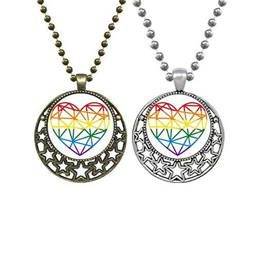 Rainbow Gay Lesbian Modelling Heart LGBT Lovers Necklaces Pendant Retro Moon Stars Jewelry
