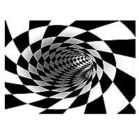 3D幾何学的錯視ノンスリップカーペット、3D底なし穴錯視エリア敷物滑り止め敷物床マットダイニングルーム寝室リビングルーム家の装飾-120120 cm
