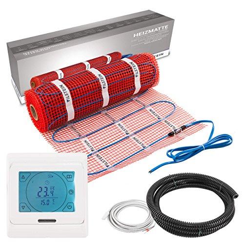 VILSTEIN© Elektrische Fußbodenheizung (4m² - 8m lang / 0,5m breit) Elektro Fußboden-Heizmatte 150W/m² für Fliesen-boden Fußboden-Heizsystem Elektrisch inkl. Thermostat TWIN Technologie Komplett-Set