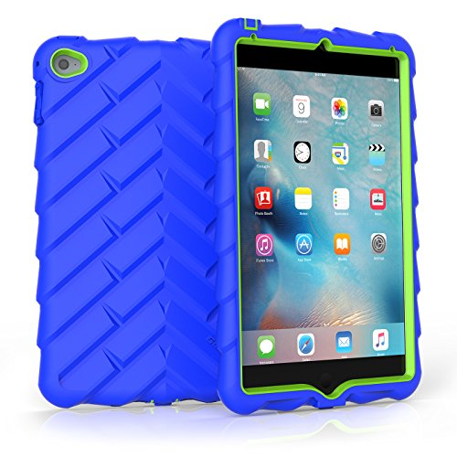 Gumdrop Droptech Case for The Apple iPad Mini 4 (2015) Tablet for K-12 Students, Teachers, Kids - Royal Blue/Lime, Rugged, Shock Absorbing, Extreme Drop Protection