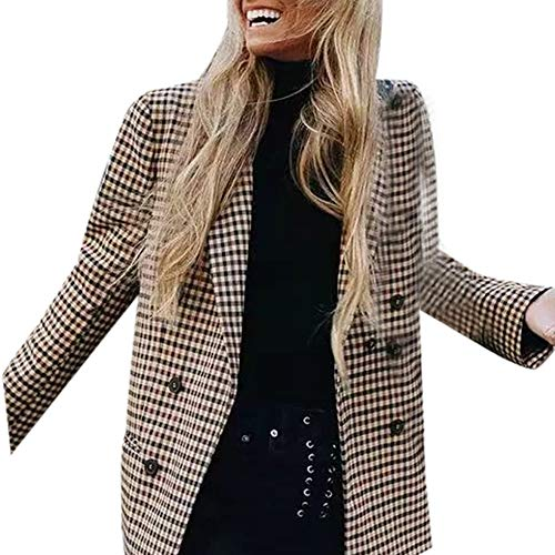 Battnot Damen Blazer Elegant Lange Braun S-L, Frauen Anzug Tops Arbeits Büro Vintage Knopf Kariert Schulterpolster Strickjacke Trench Übergangsjacke Business Formal Mantel Womens Suit Coat Outwear