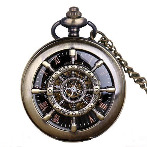 Steampunk Barco Timón Hueco Relojes de Bolsillo mecánicos Esqueleto Reloj Masculino Retro de Cuerda Manual con Colgante Fob Cadena nobox