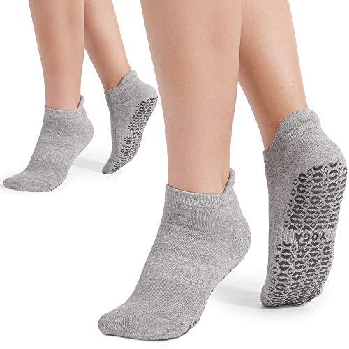 Yoga Socken für Damen rutschfest,2 Paar, Ideal für Yoga Pilates, Ballett,Tanz,Barre,Fitness, Barfuß-Training, Trampolin (Grau)