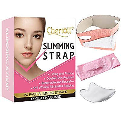 Slimming Strap, Face Lifting Belt, Double Chin Reducer, Face Shaper Chin Strap with Gua Sha Board,V-Line Lifting,Double Chin Lifting Belt