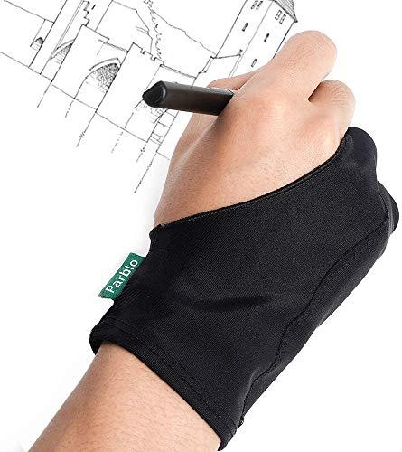 Parblo 2本の指グローブ グラフィックスモニター/タブレット/ライトボックス/トレースライトパッドに対応 左利きと右利きも使用できるーブラック (Parblo PR-05)