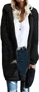 Women's Long Sleeve Fluffy Coat Outwear Hooded Open Front Cardigan