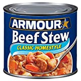 Twelve 20 oz cans of Armour Star Classic Homestyle Beef Stew Canned Food Canned stew offers a quick, easy meal with great flavor Beef, potatoes and carrots in a rich, hearty gravy Eat right out of the can, or add canned beef stew to your favorite rec...