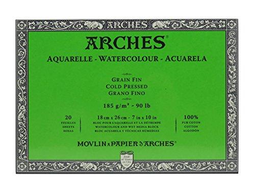 Arches Blocco Per Acquerello Incollato 4 Lati (20 Fogli) - Grana Fina - 185 G/Mq - 18 X 26 cm