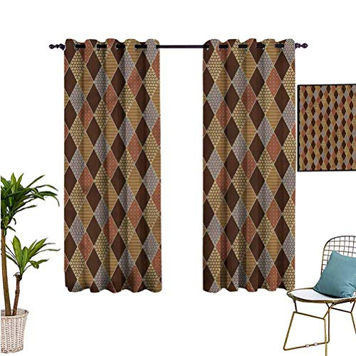 June Gissing Brown Curtain Decoration Classic Lozenge Pattern Printed Curtain W52 x L63 Gifts for Best Friend