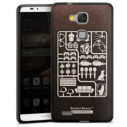 DeinDesign Silikon Hülle kompatibel mit Huawei Ascend Mate 7 Hülle schwarz Handyhülle Rocket Beans TV YouTube Zocken