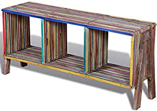 Rustic TV Stand Industrial Style Cabinet Vintage Retro Indian Living Room Furniture Shelves Entertainment Center Bench Large Reclaimed Teak Wood Media Storage Unit Widescreen LCD Sideboard Table