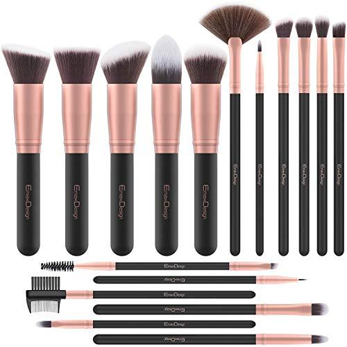 Brochas de Maquillaje de EmaxDesign | Para polvos, cremas y líquidos | Oro Rosado | 17 Piezas